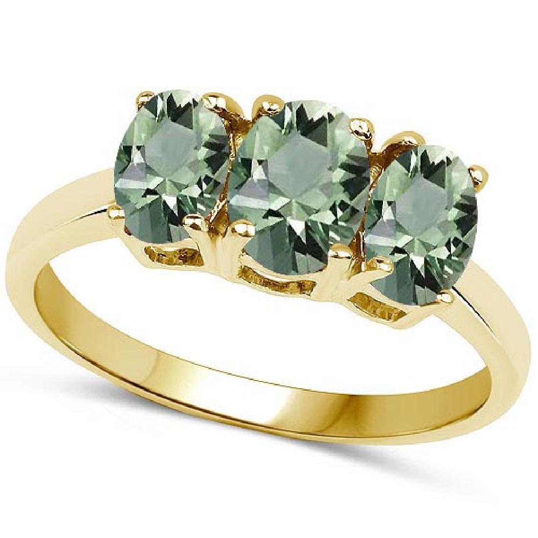 Certified 4.70 CTW Genuine Green Amethyst And 14K Yello