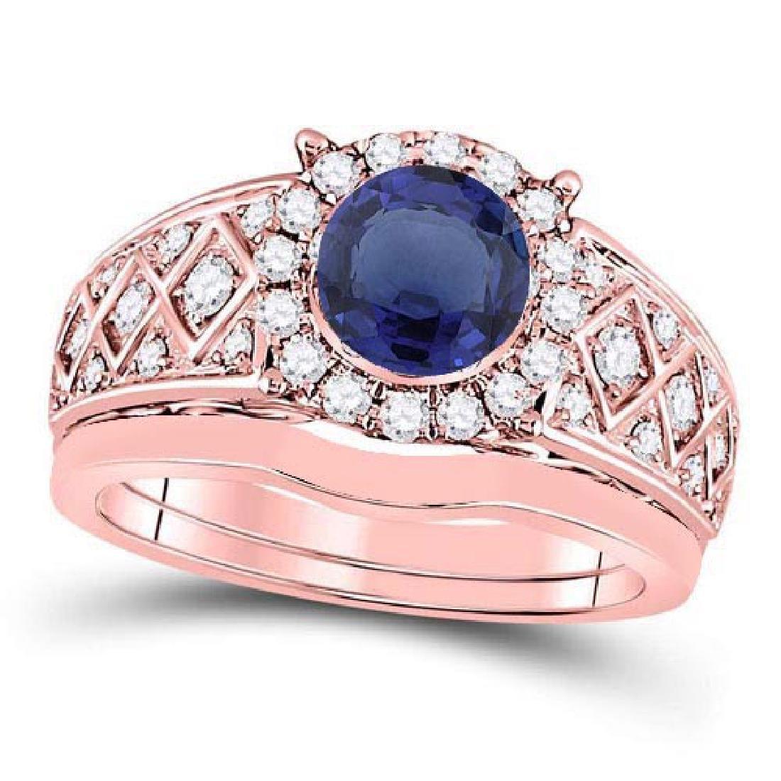 Certified 2.50 CTW Genuine Blue Sapphire And Diamond 14