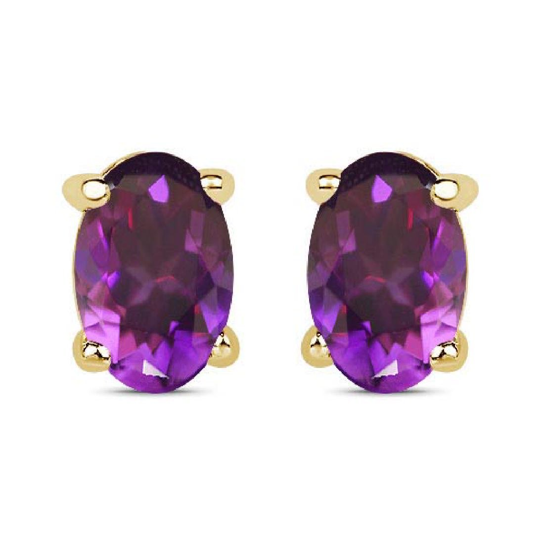 Certified 4.20 CTW Genuine Amethyst And 14K Yellow Gold