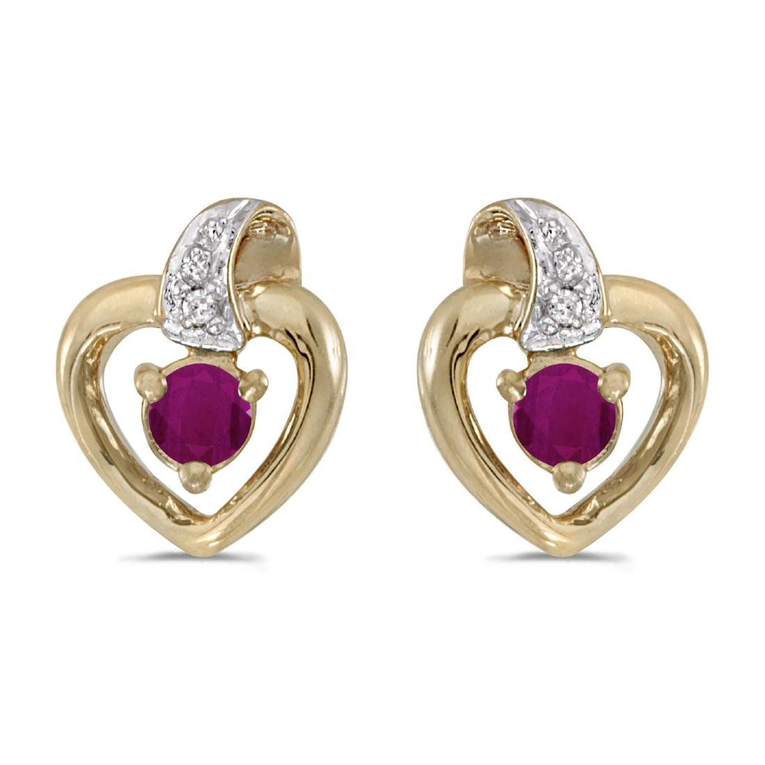 Certified 14k Yellow Gold Round Ruby And Diamond Heart