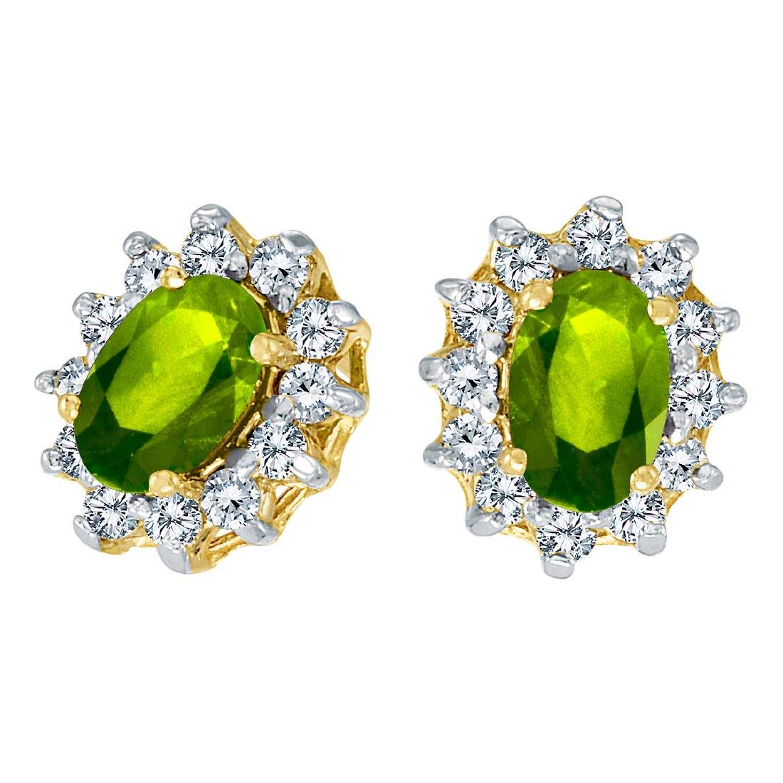 Certified 14k Yellow Gold Oval Peridot and .25 total CT