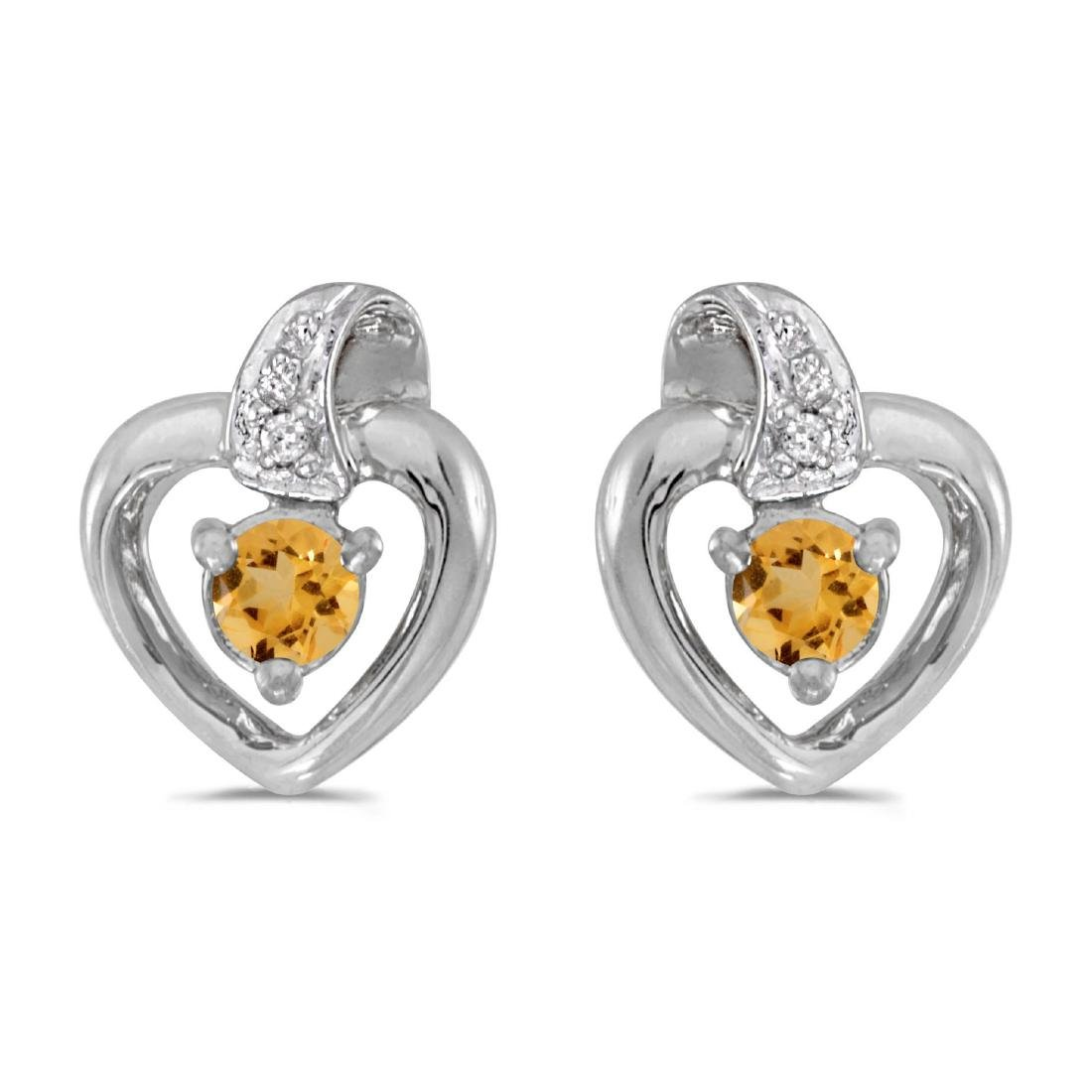Certified 10k White Gold Round Citrine And Diamond Hear