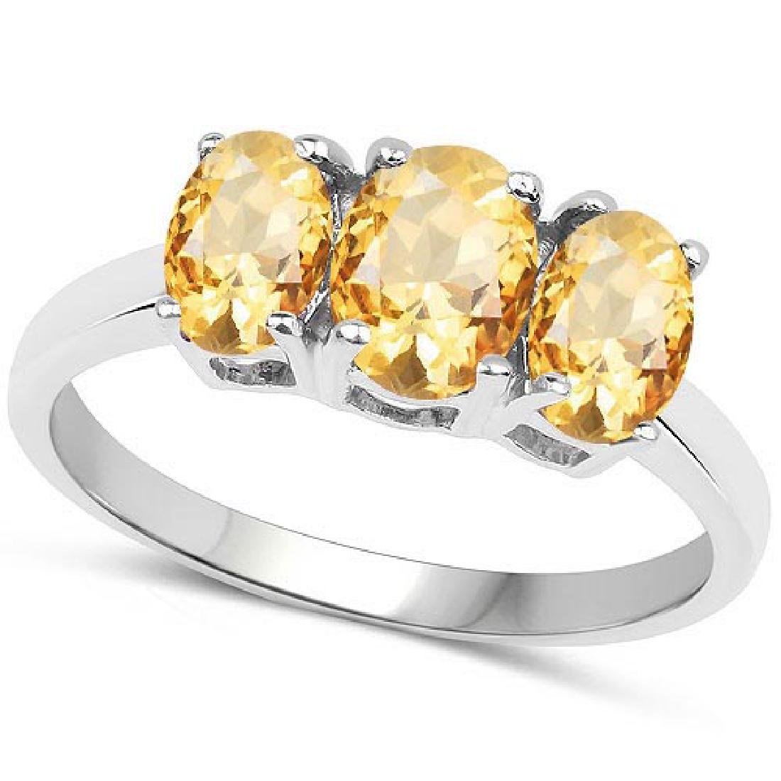 Certified 4.40 CTW Genuine Citrine And 14K White Gold R