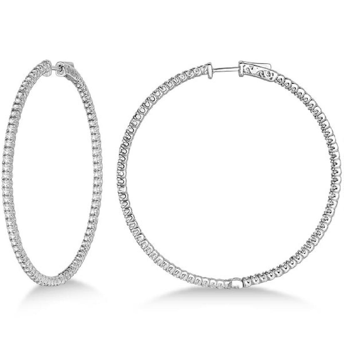 Unique X-Large Diamond Hoop Earrings 14k White Gold (3.
