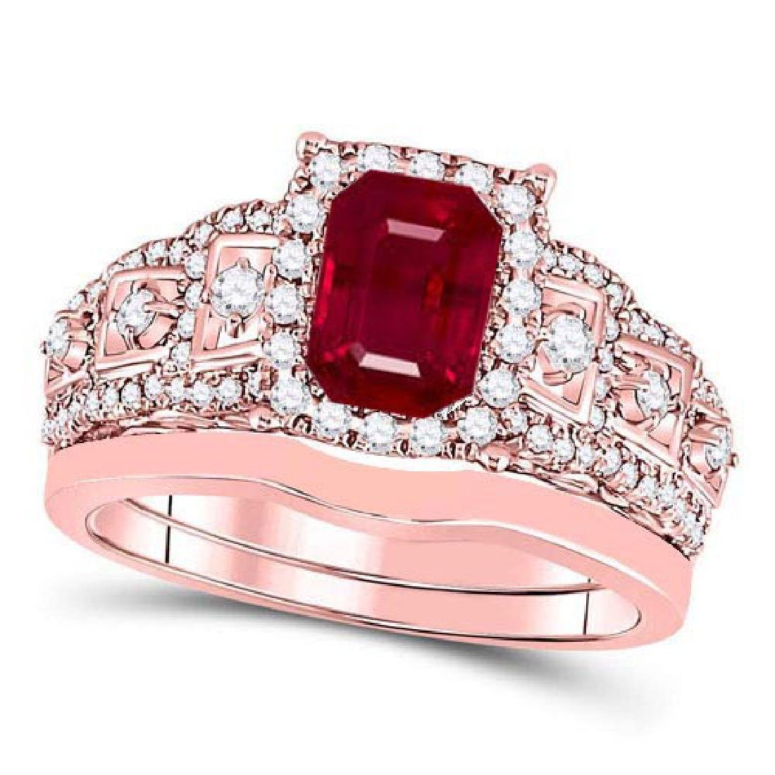 Certified 2.25 CTW Genuine Ruby And Diamond 14K Rose Go