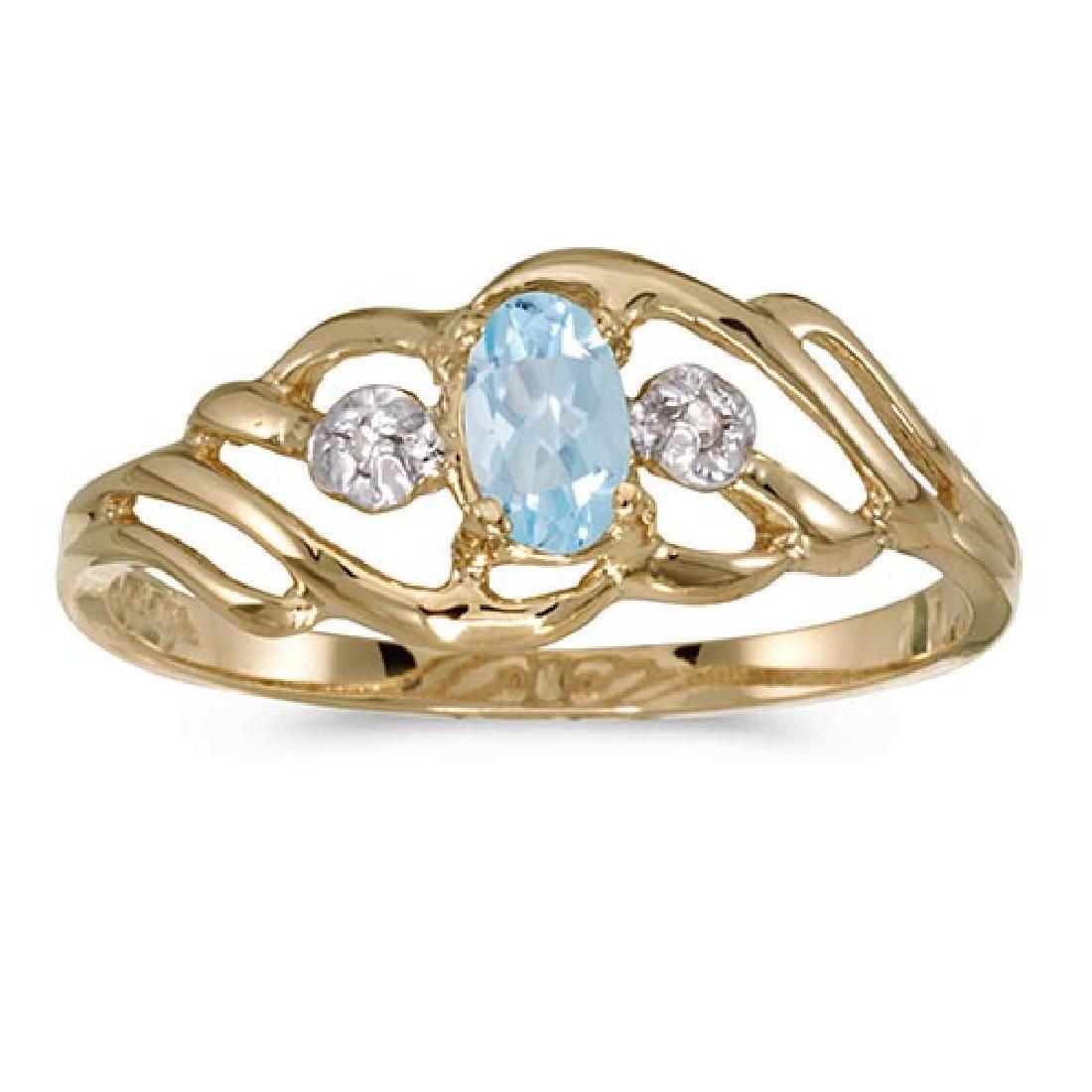 Certified 10k Yellow Gold Oval Aquamarine And Diamond R