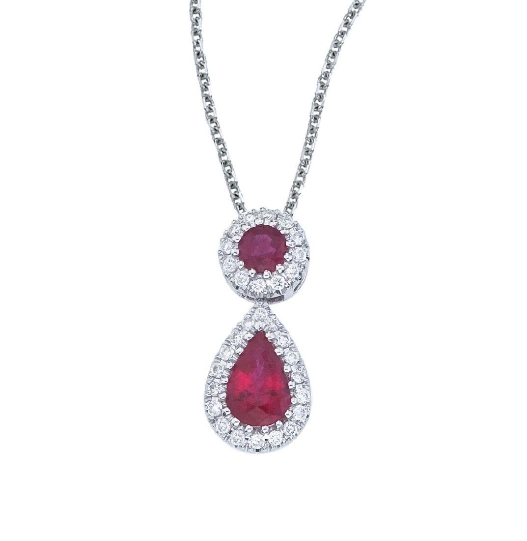 Certified 14k White Gold Ruby and Diamond Dangle Pendan