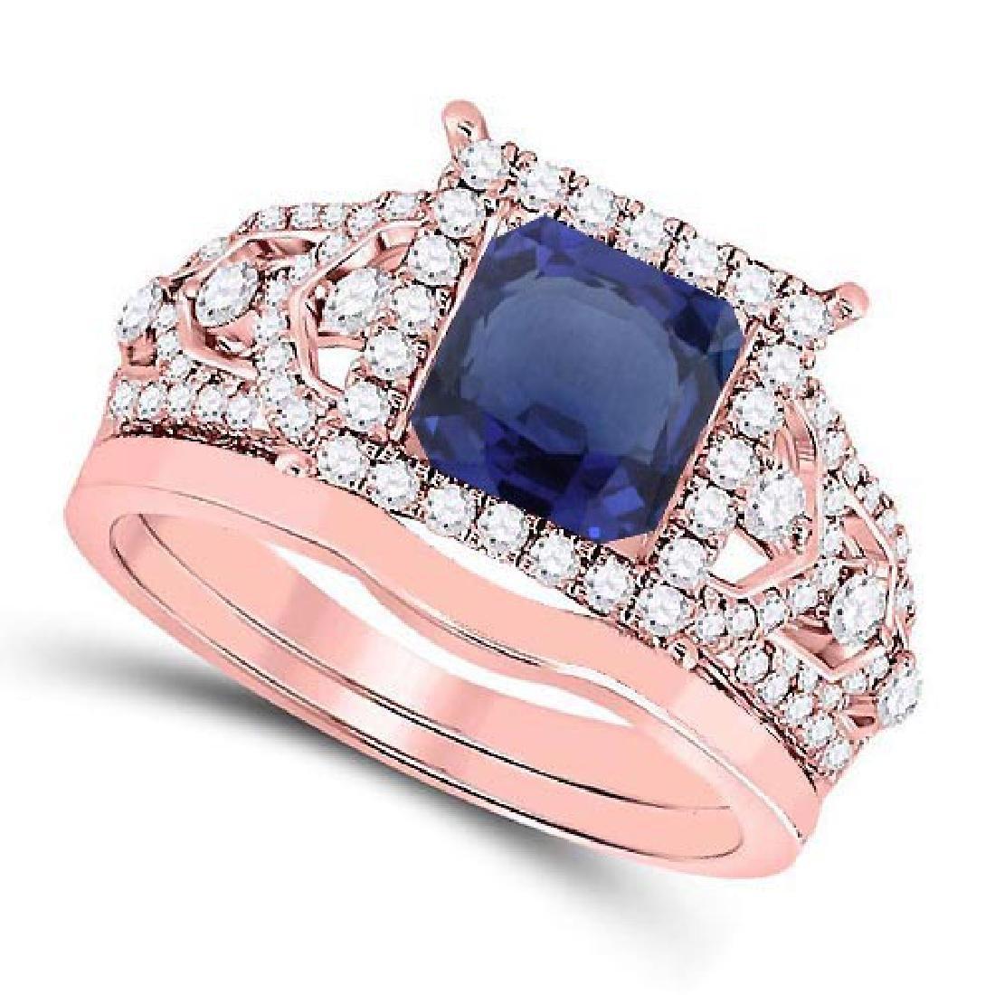 Certified 2.30 CTW Genuine Blue Sapphire And Diamond 14