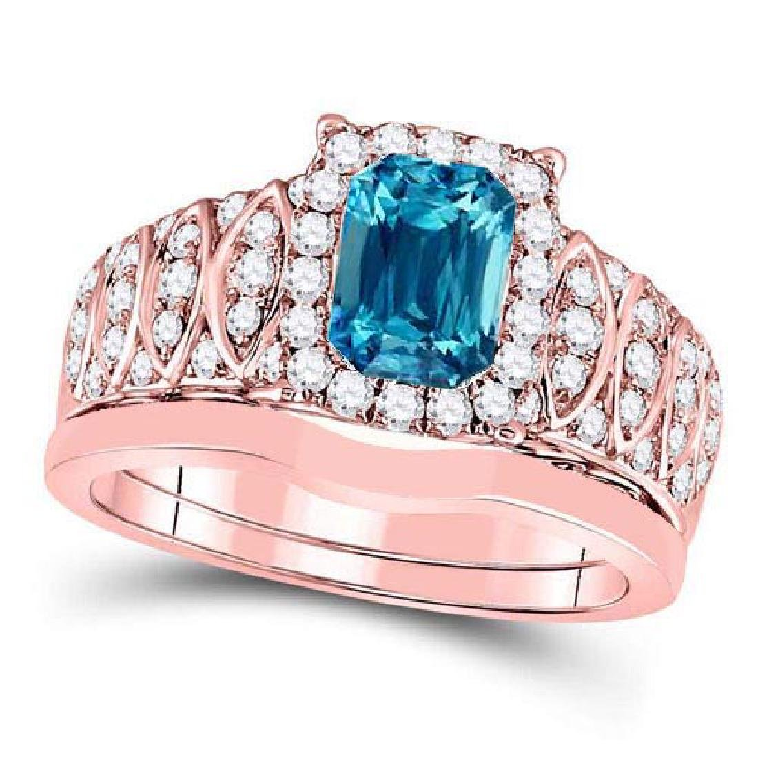 Certified 1.70 CTW Genuine Aquamarine And Diamond 14K R