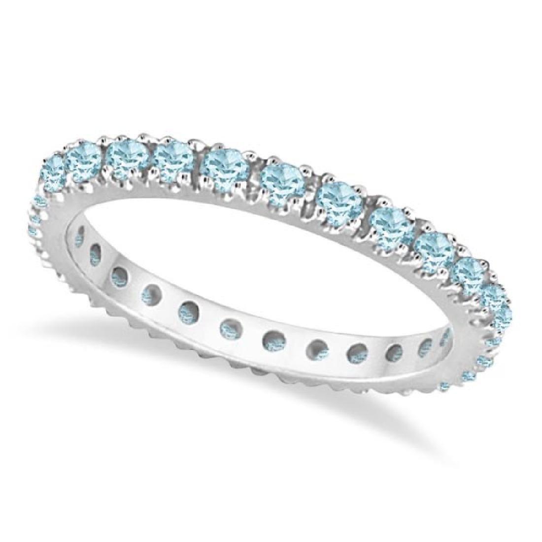 Aquamarine Eternity Stackable Ring Guard Band 14K White