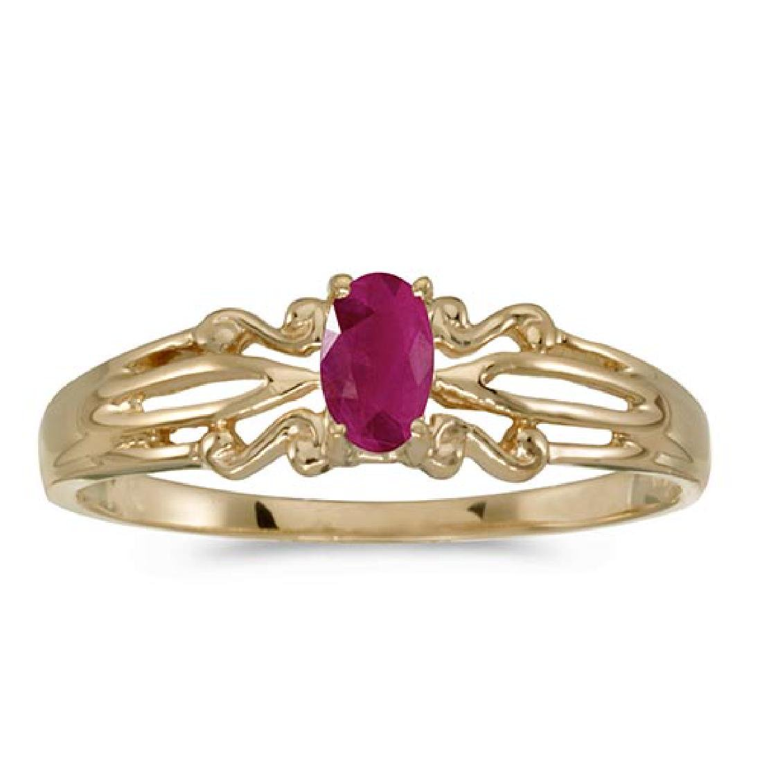 Certified 14k Yellow Gold Oval Ruby Ring