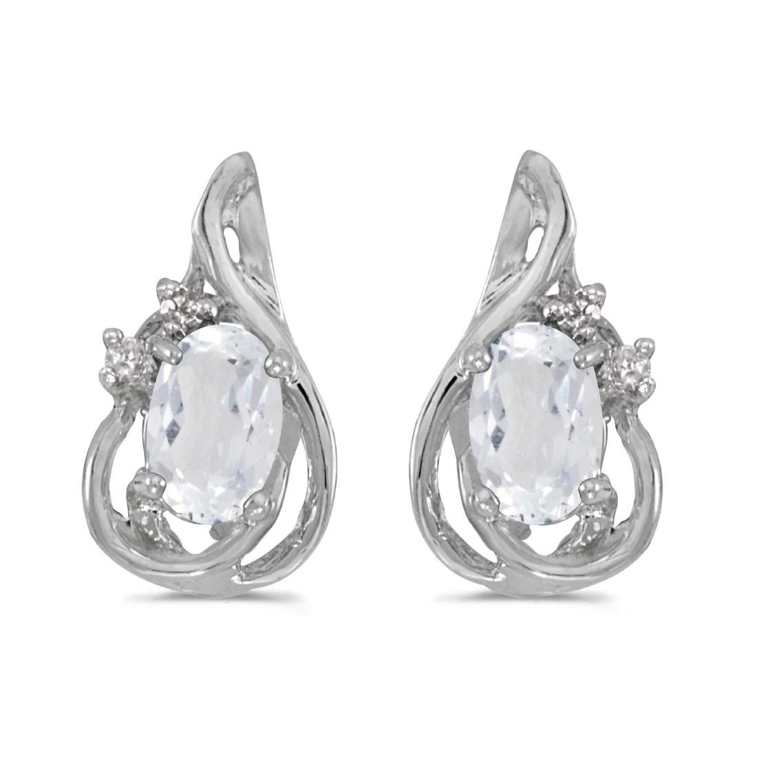 Certified 14k White Gold Oval White Topaz And Diamond T