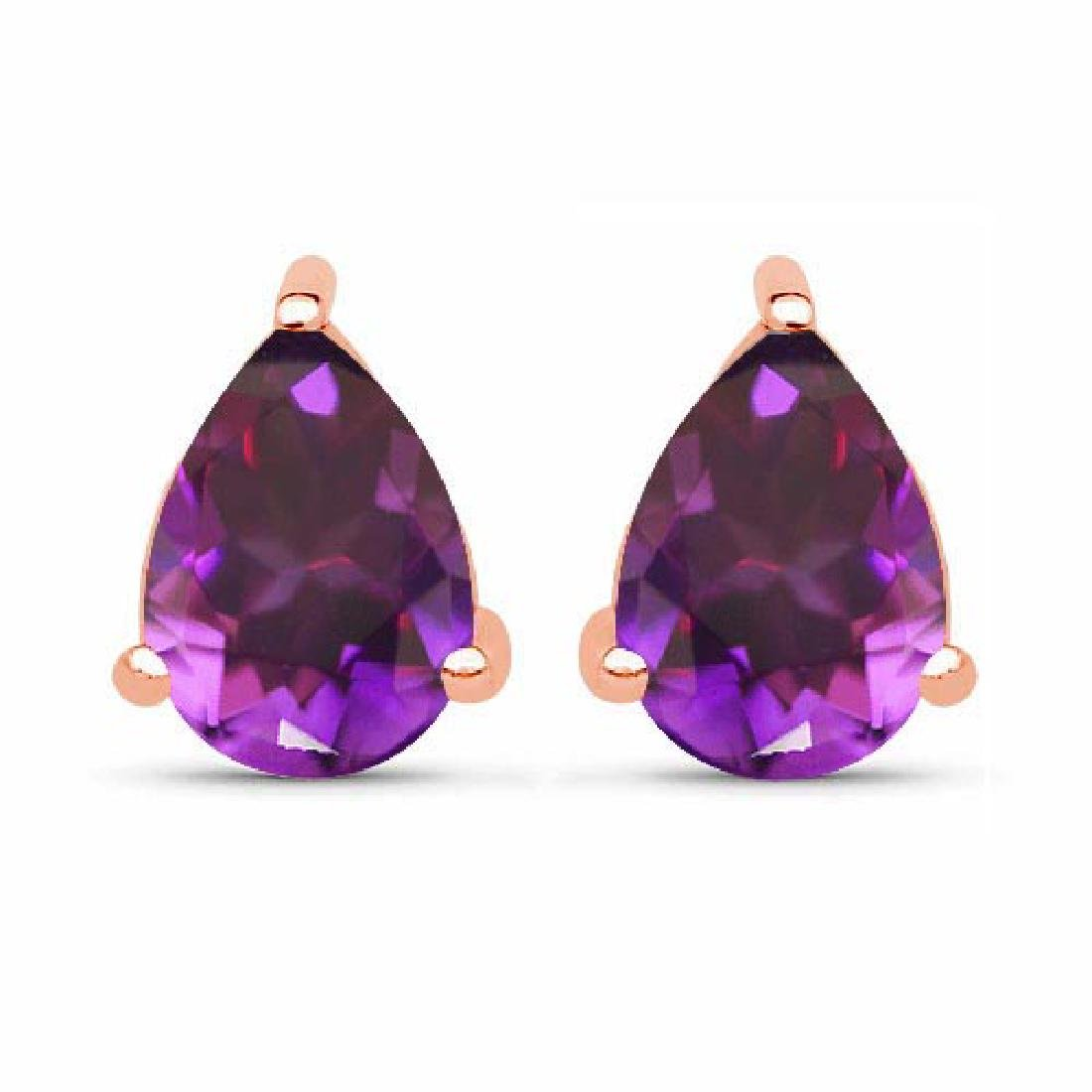 Certified 4.20 CTW Genuine Amethyst And 14K Rose Gold E