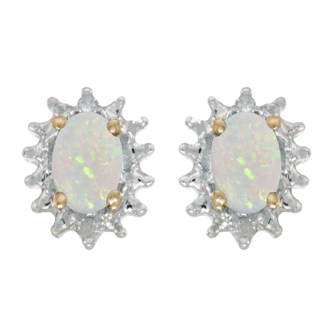 Certified 14k Yellow Gold Oval Opal And Diamond Earring