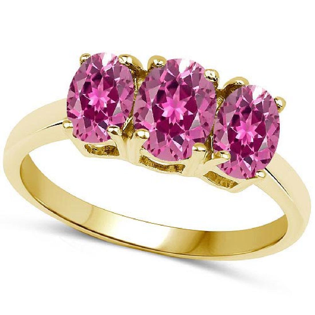 Certified 4.20 CTW Genuine pink tourmaline And 14K Yell