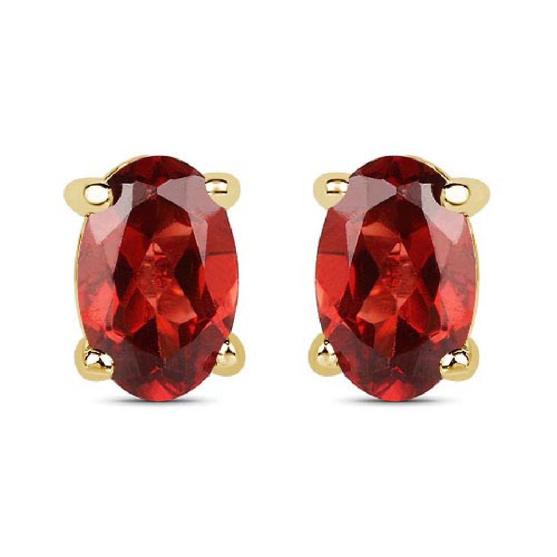 Certified 4.50 CTW Genuine Garnet And 14K Yellow Gold E