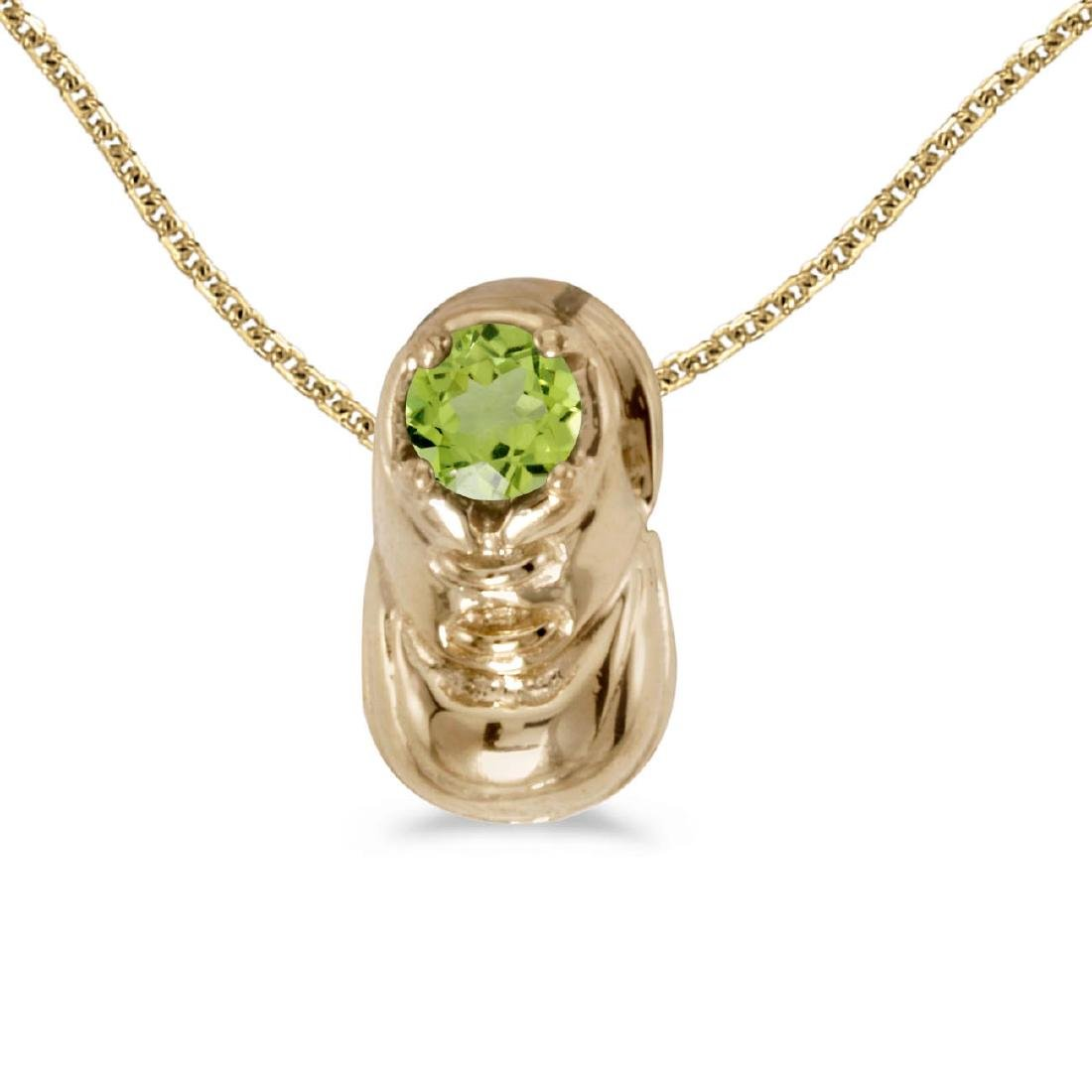 Certified 10k Yellow Gold Round Peridot Baby Bootie Pen