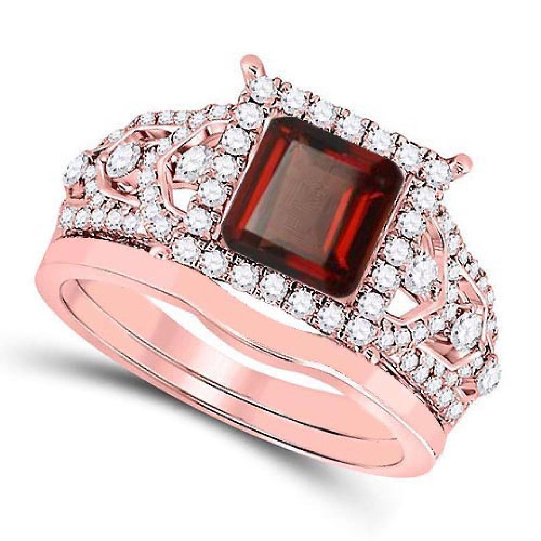 Certified 3.00 CTW Genuine Garnet And Diamond 14K Rose