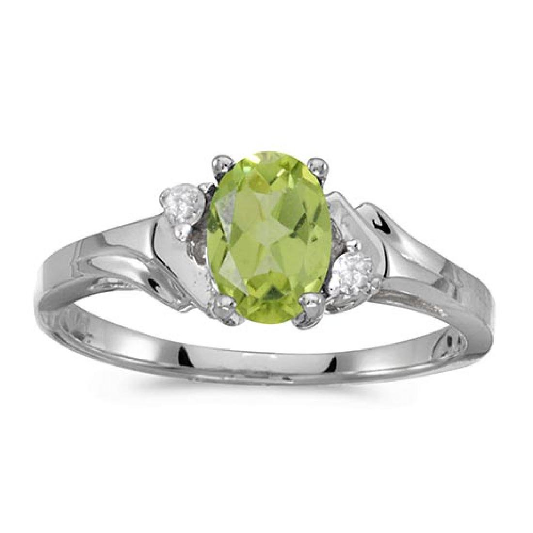 Certified 10k White Gold Oval Peridot And Diamond Ring