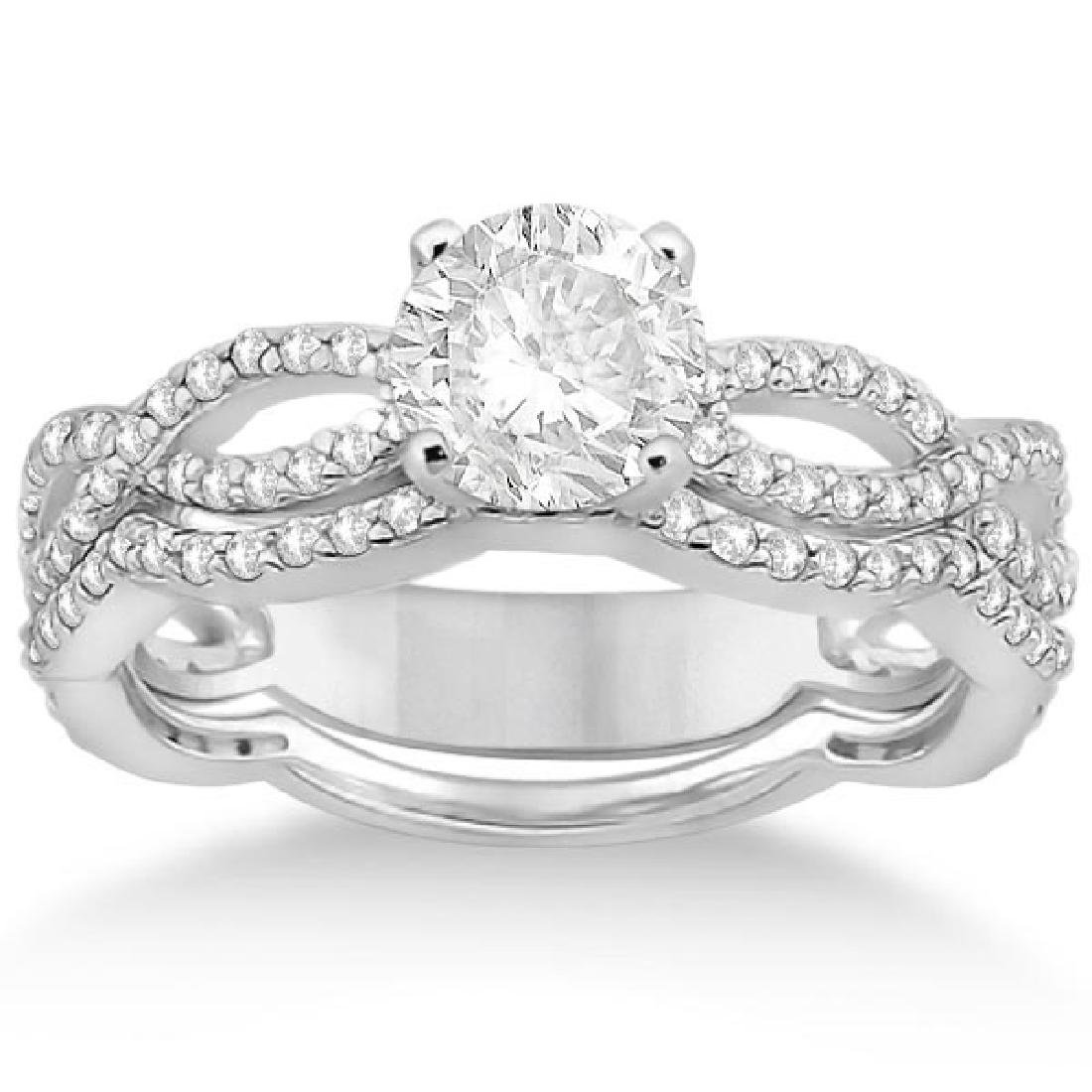 Infinity Diamond Engagement Ring with Band 14k White Go