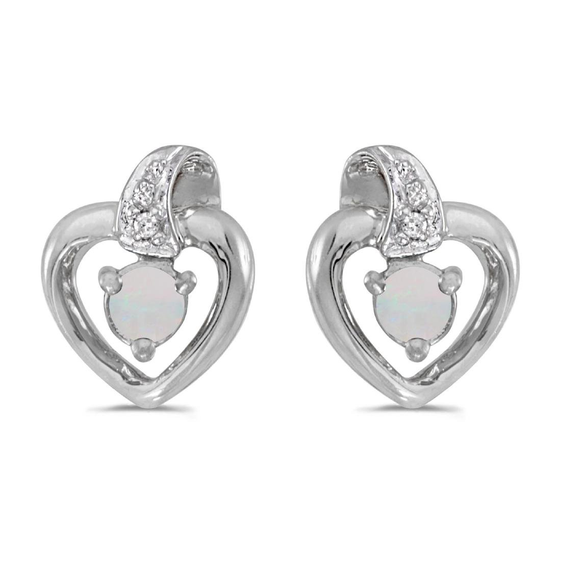 Certified 14k White Gold Round Opal And Diamond Heart E