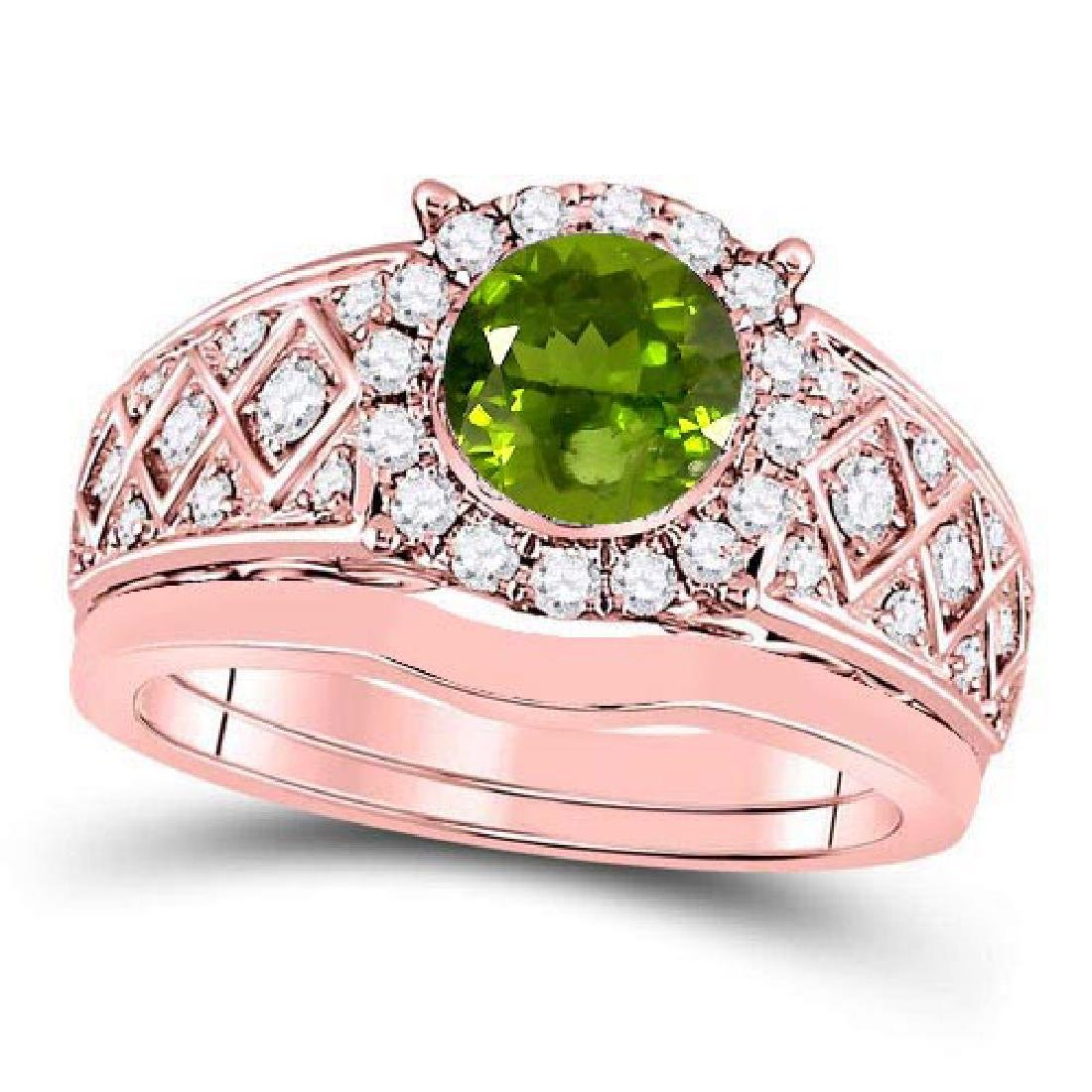Certified 1.60 CTW Genuine Peridot And Diamond 14K Rose
