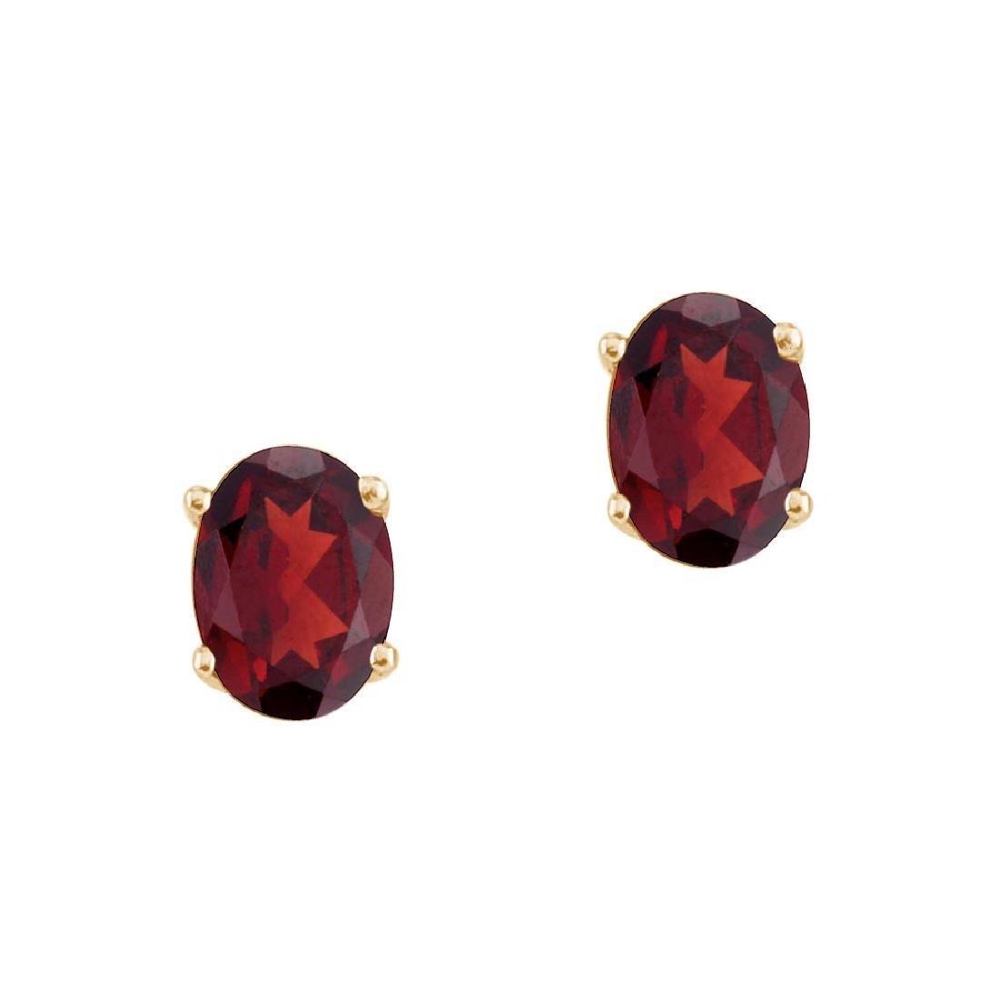 Certified 14k Yellow Gold Oval Garnet Stud Earrings 1.5