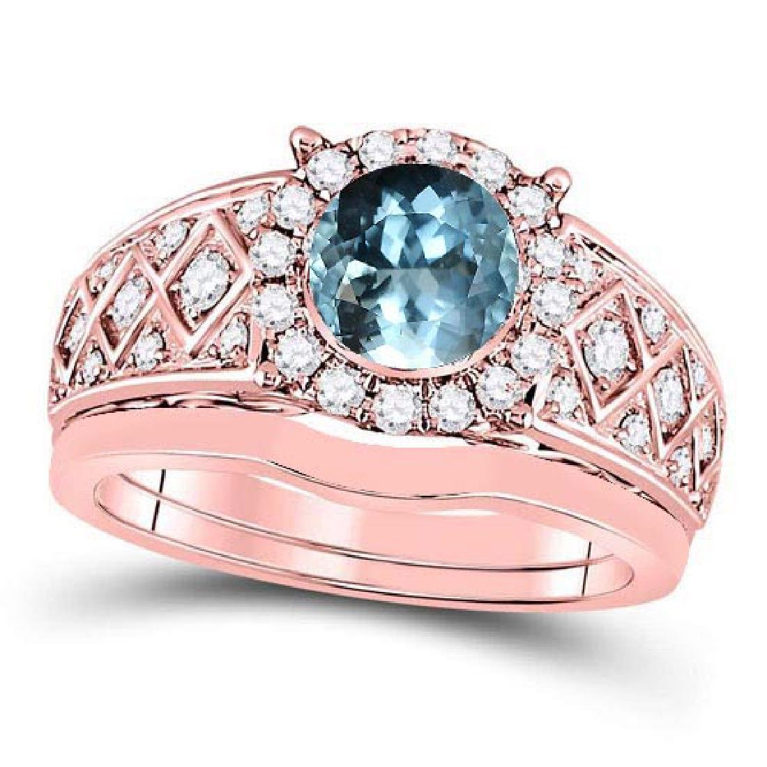 Certified 1.90 CTW Genuine Aquamarine And Diamond 14K R