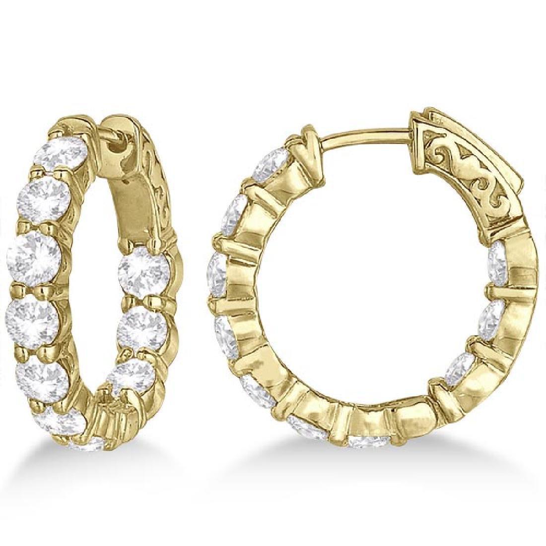 Small Round Diamond Hoop Earrings 14k Yellow Gold (4.00
