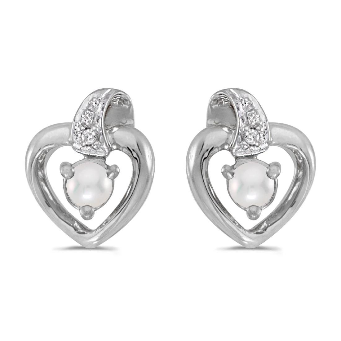 Certified 10k White Gold Pearl And Diamond Heart Earrin