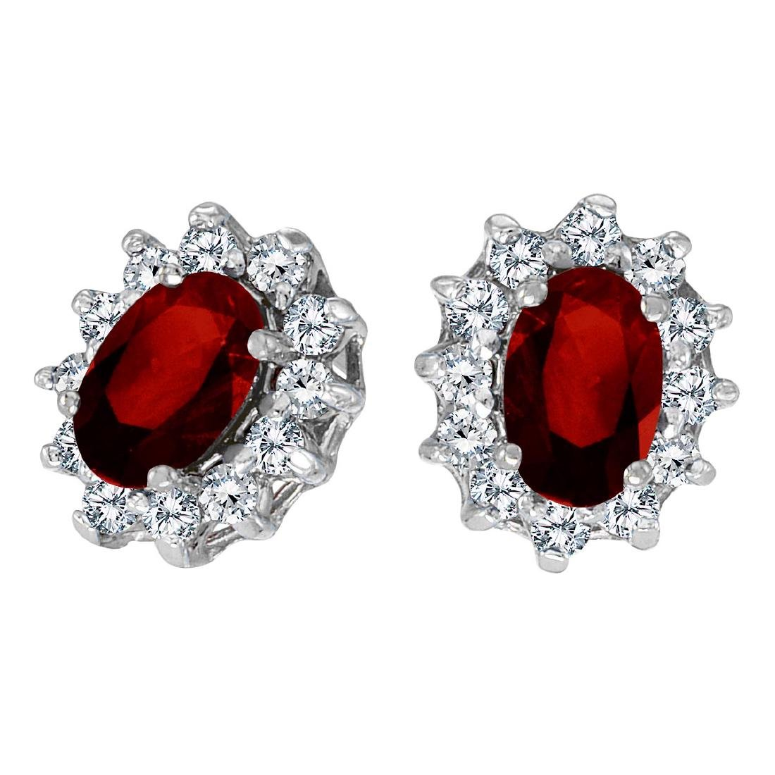 Certified 14k White Gold Oval Garnet and .25 total CTW