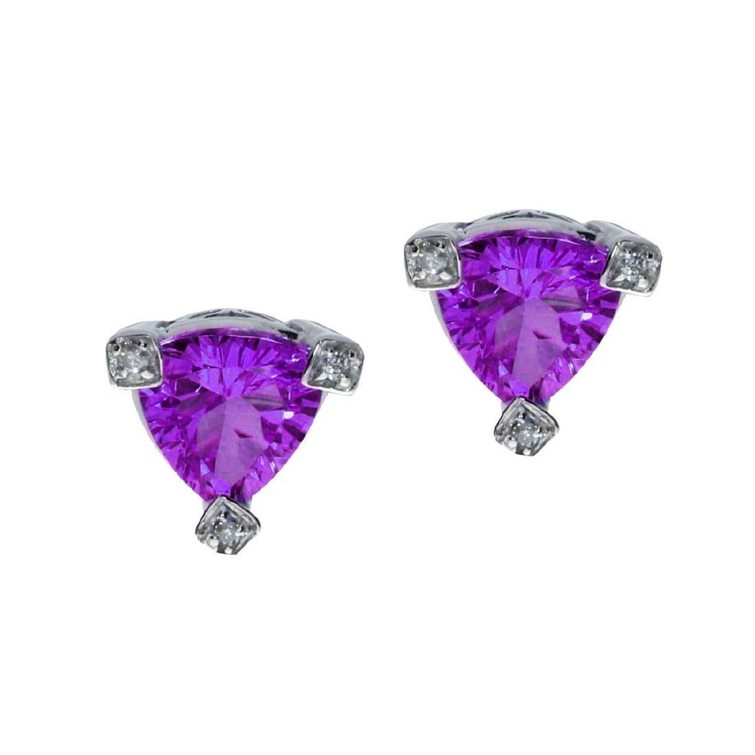 Certified 14k Trillion Amethyst and Diamond Earrings 3.