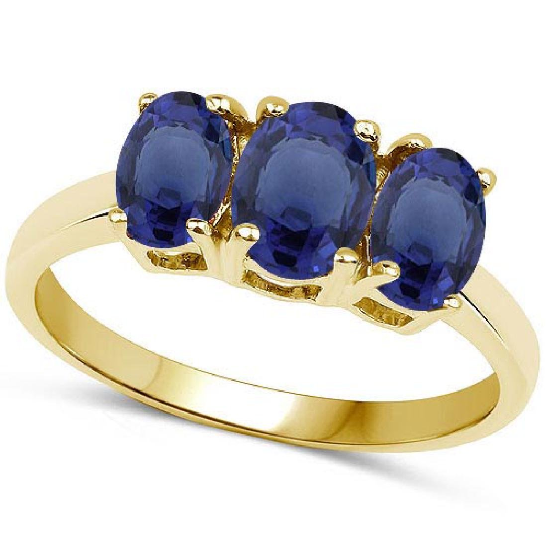 Certified 4.70 CTW Genuine Blue Sapphire And 14K Yellow