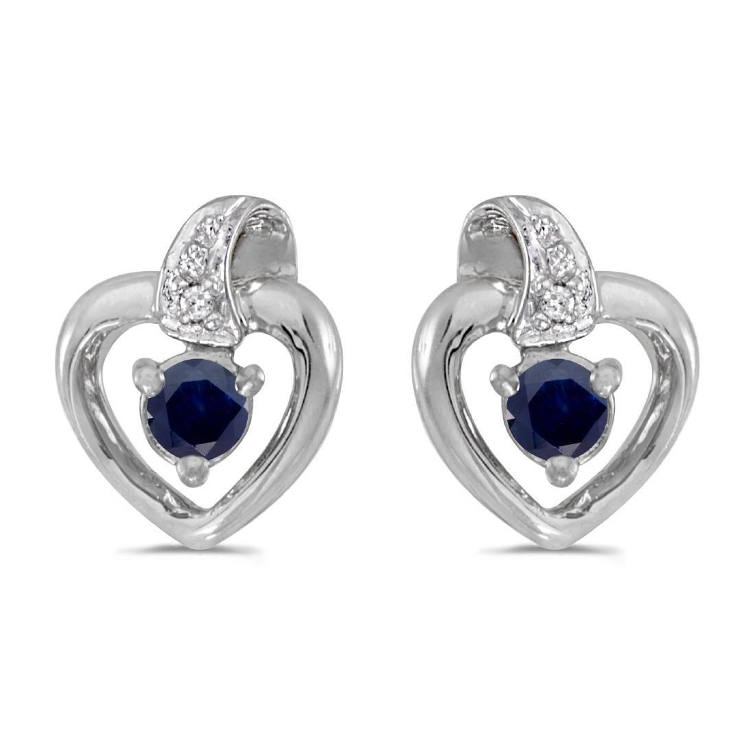 Certified 10k White Gold Round Sapphire And Diamond Hea