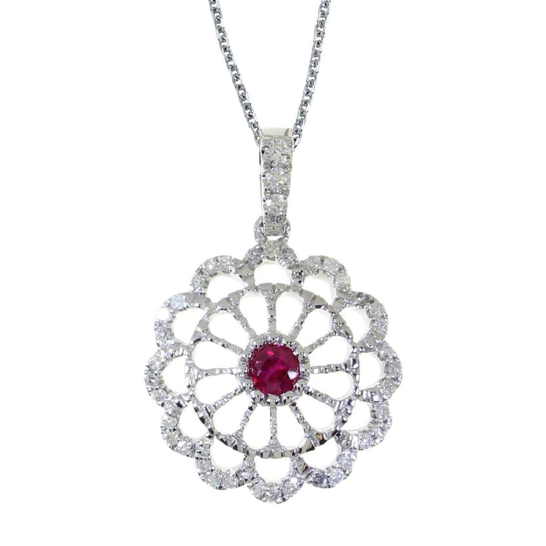 Certified 14k White Gold Ruby and .05 CTW Diamond Wheel