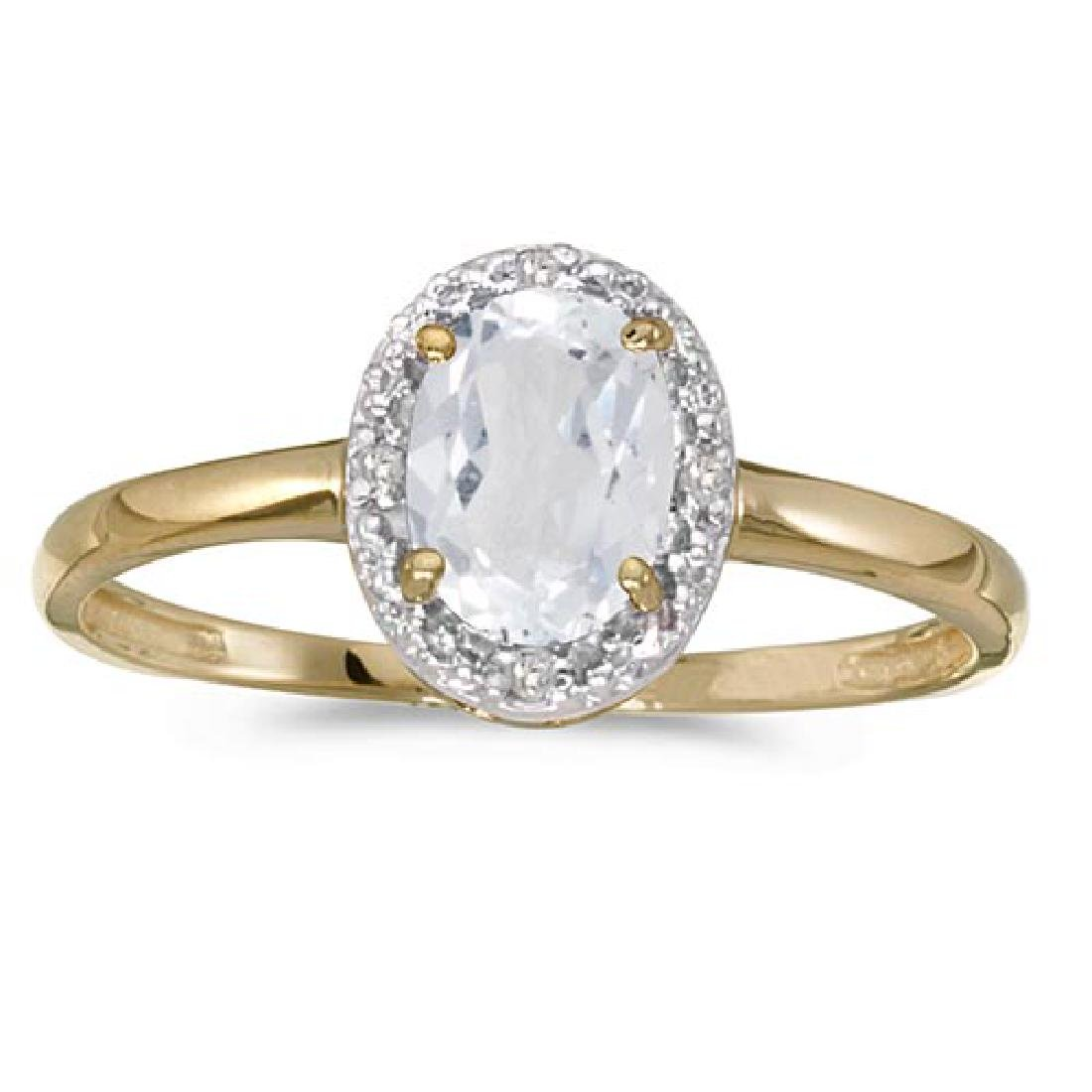 Certified 14k Yellow Gold Oval White Topaz And Diamond
