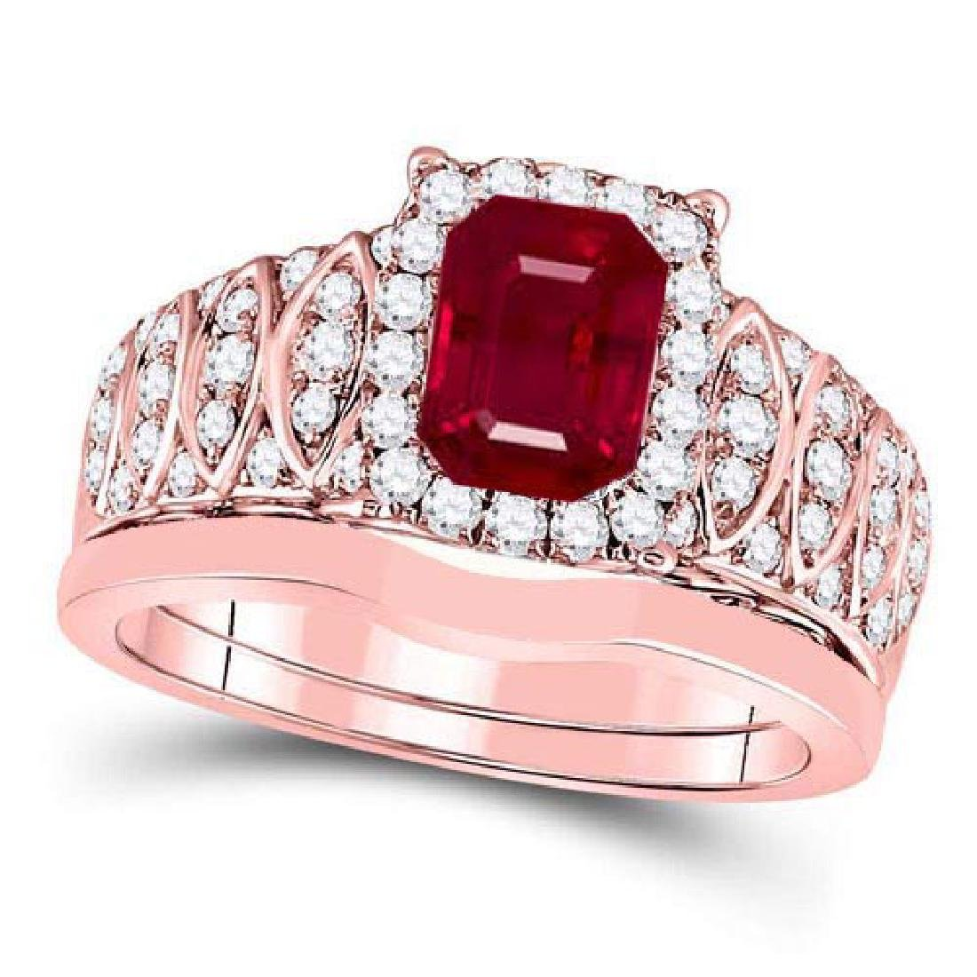 Certified 2.70 CTW Genuine Ruby And Diamond 14K Rose Go