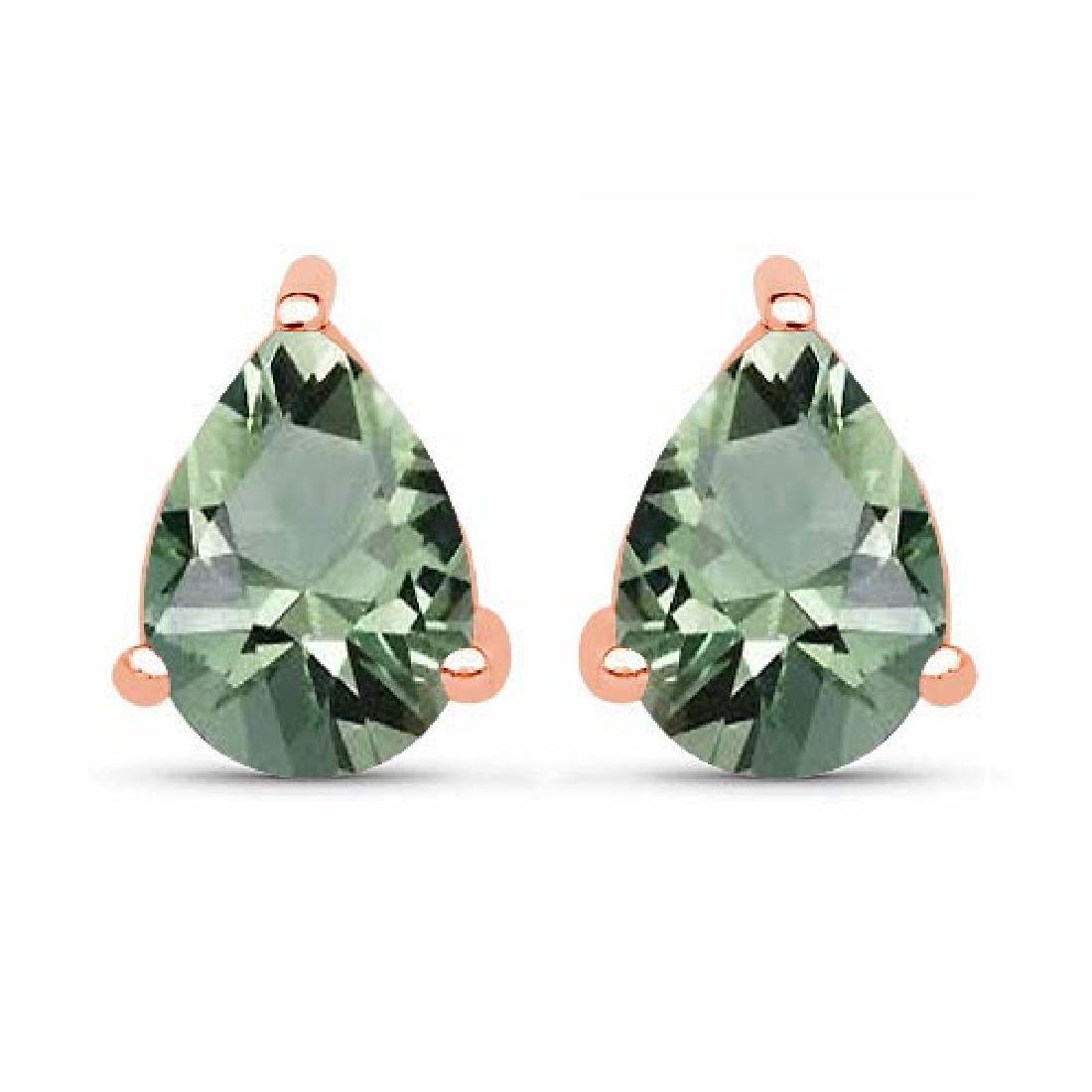 Certified 4.10 CTW Genuine Green Amethyst And 14K Rose