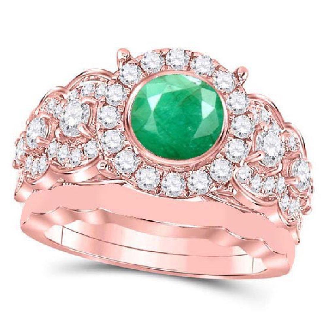 Certified 3.20 CTW Genuine Emerlad And Diamond 14K Rose