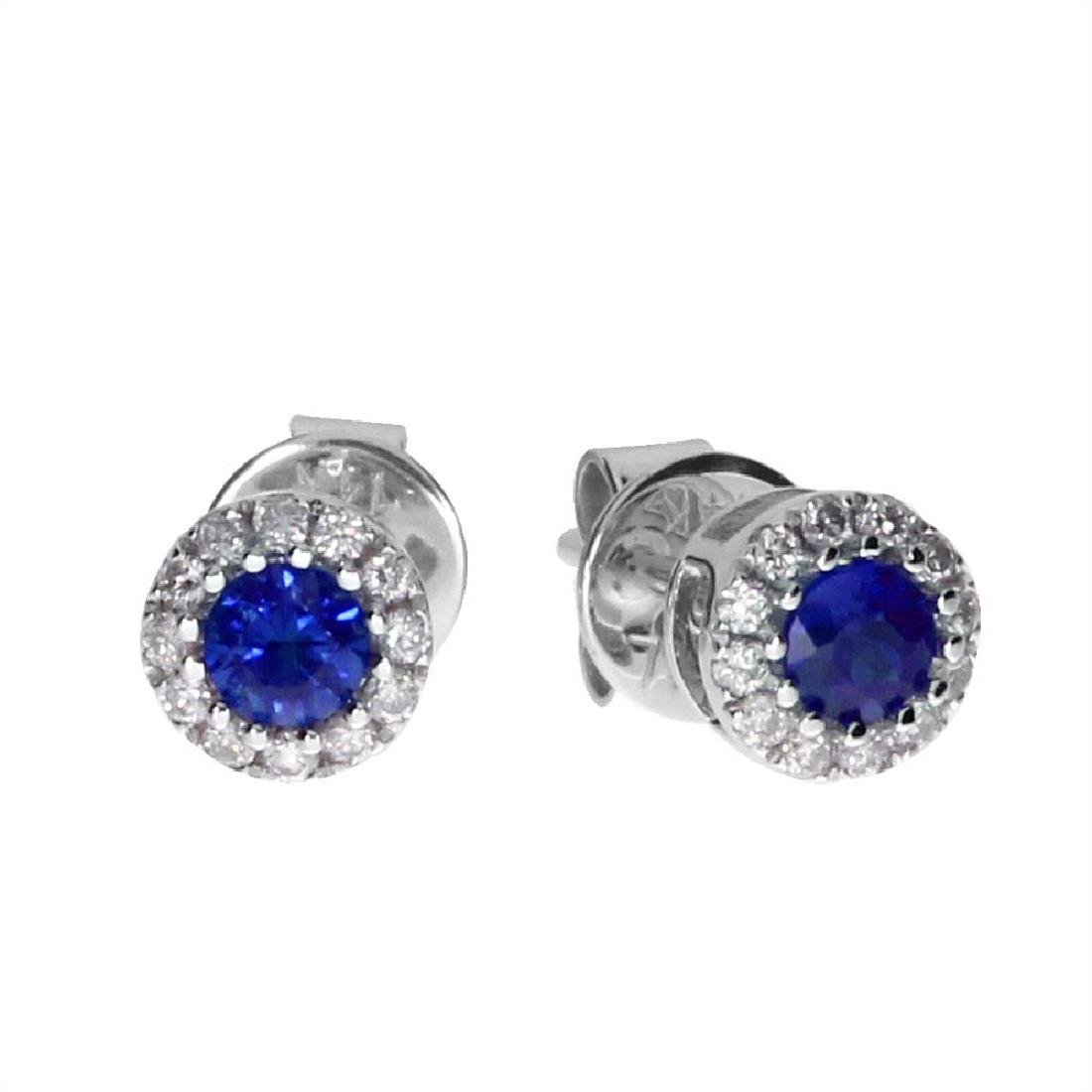 Certified 14k White Sapphire and Diamond Round Earring