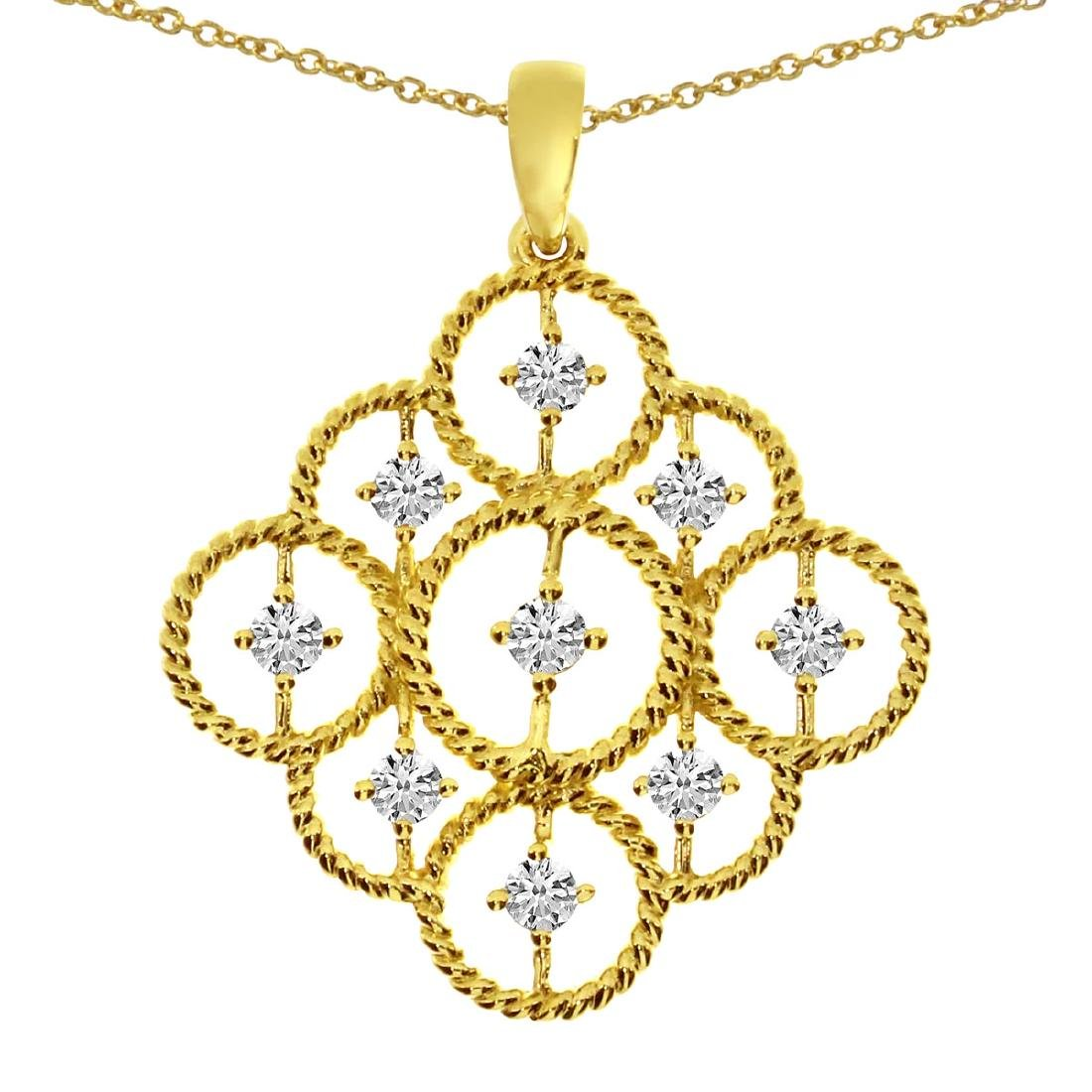 Certified 14K Yellow Gold Rope Diamond Pendant 0.41 CTW