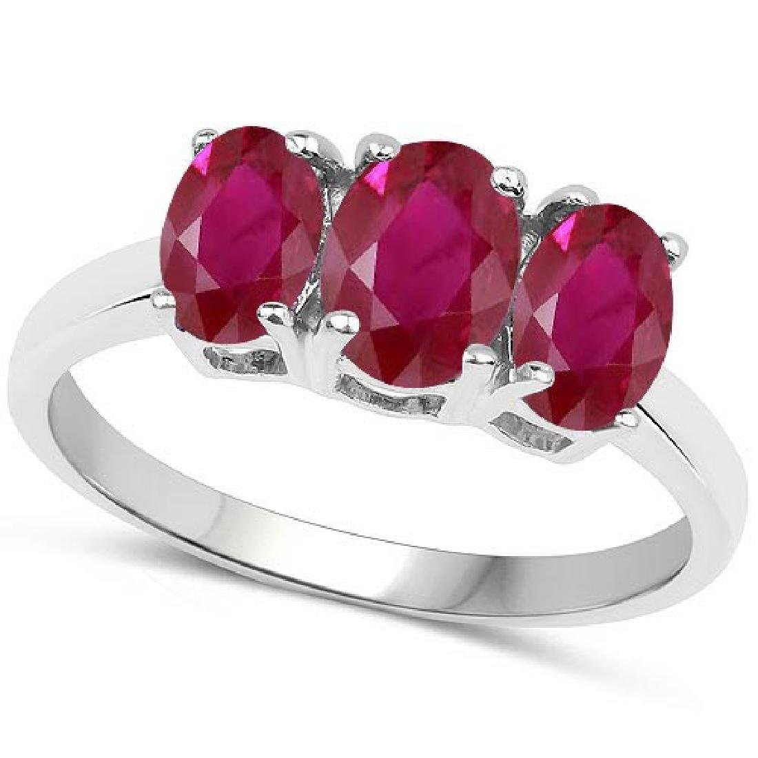 Certified 4.30 CTW Genuine Ruby And 14K White Gold Ring