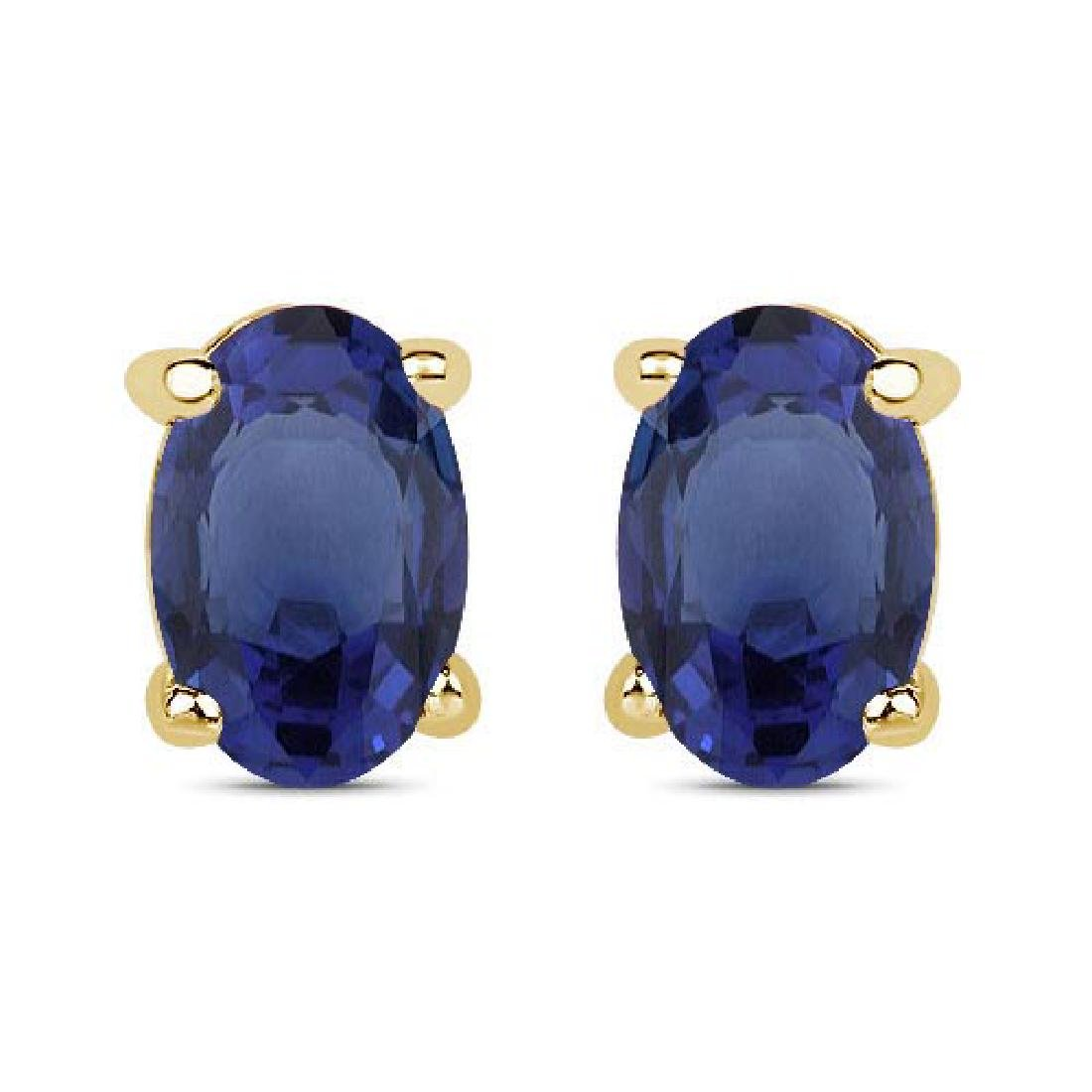 Certified 4.50 CTW Genuine Blue Sapphire And 14K Yellow