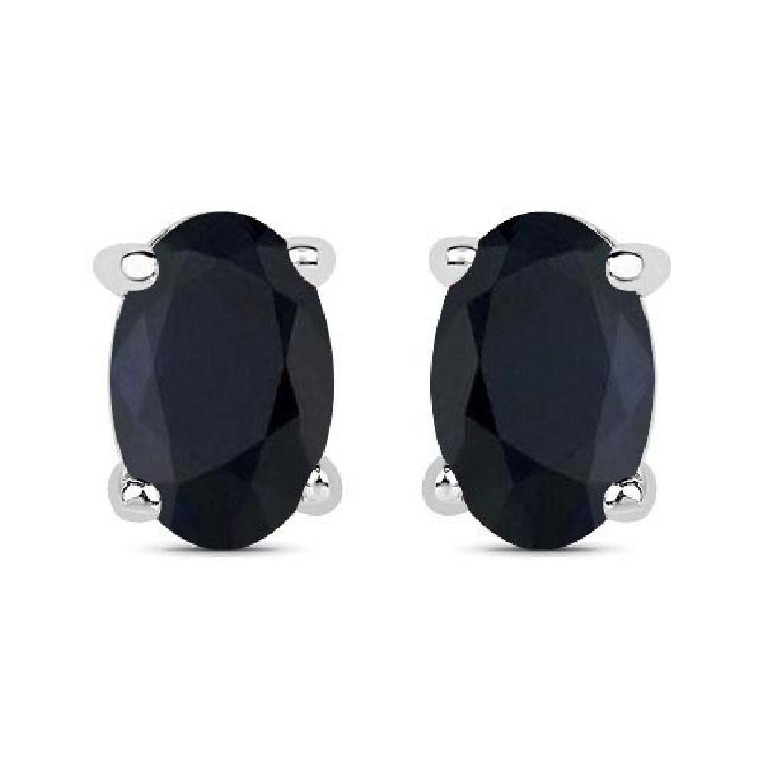 Certified 4.50 CTW Genuine Black Sapphire And 14K White