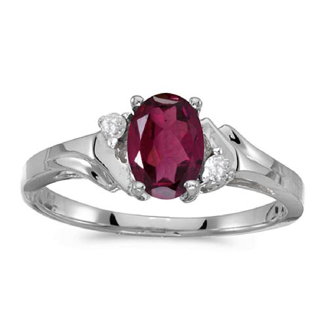 Certified 10k White Gold Oval Rhodolite Garnet And Diam