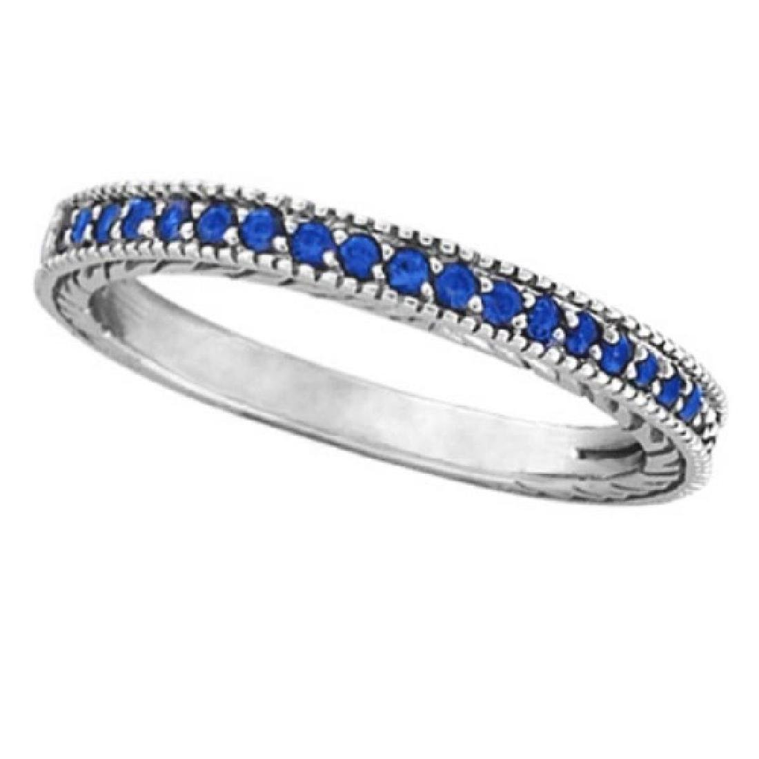 Blue Sapphire Stackable Ring With Milgrain Edges in 14k