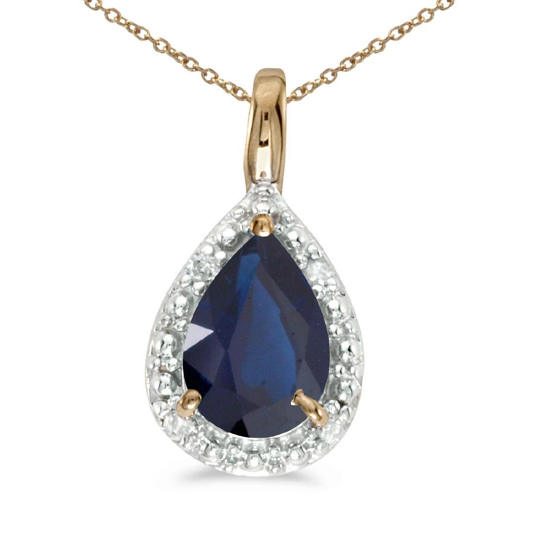 Certified 10k Yellow Gold Pear Sapphire Pendant 0.65 CT