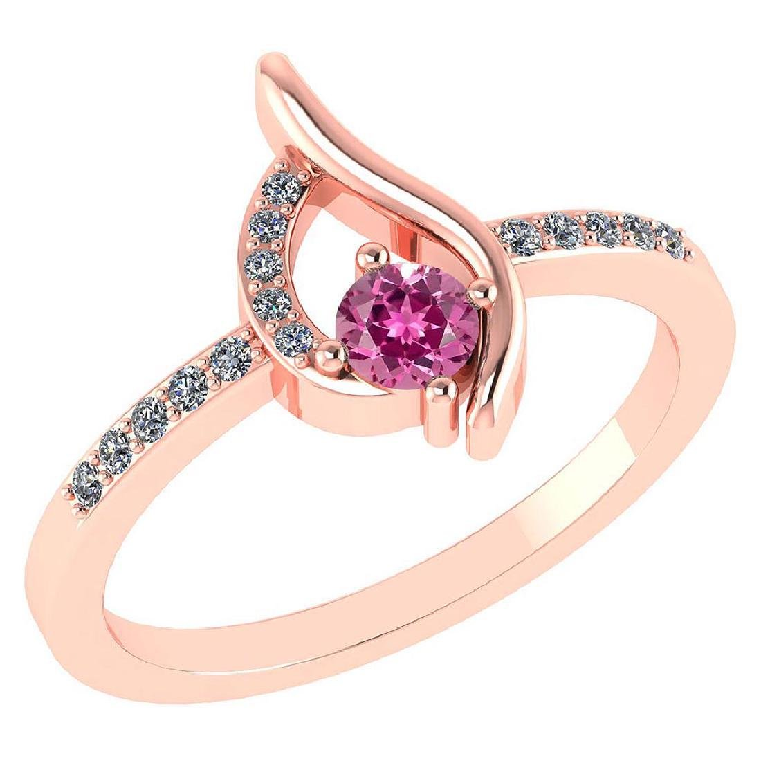 Certified .30 CTW Genuine Pink Touramline And Diamond (