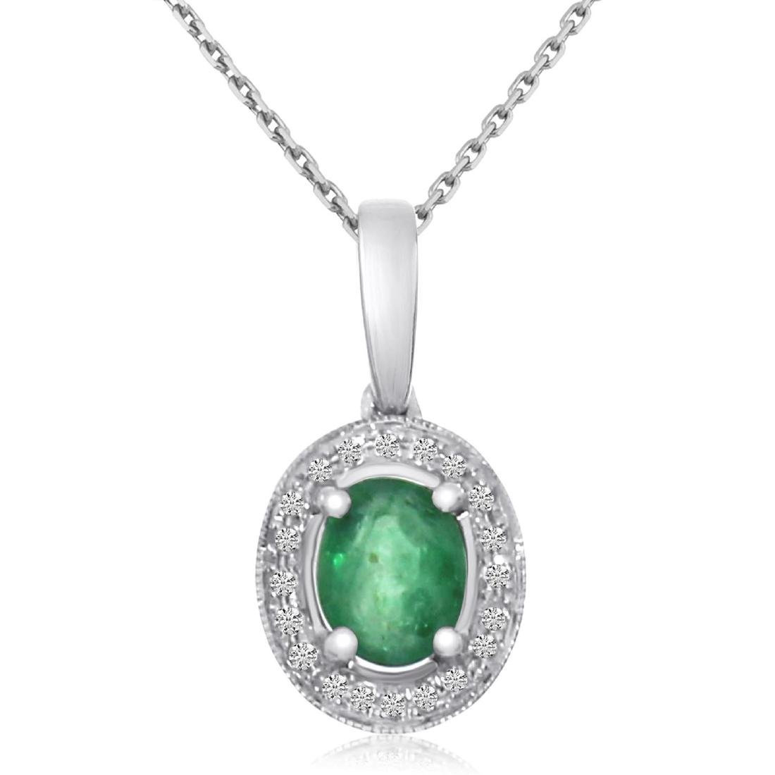 Certified 14k White Gold Oval Emerald and Diamond Penda