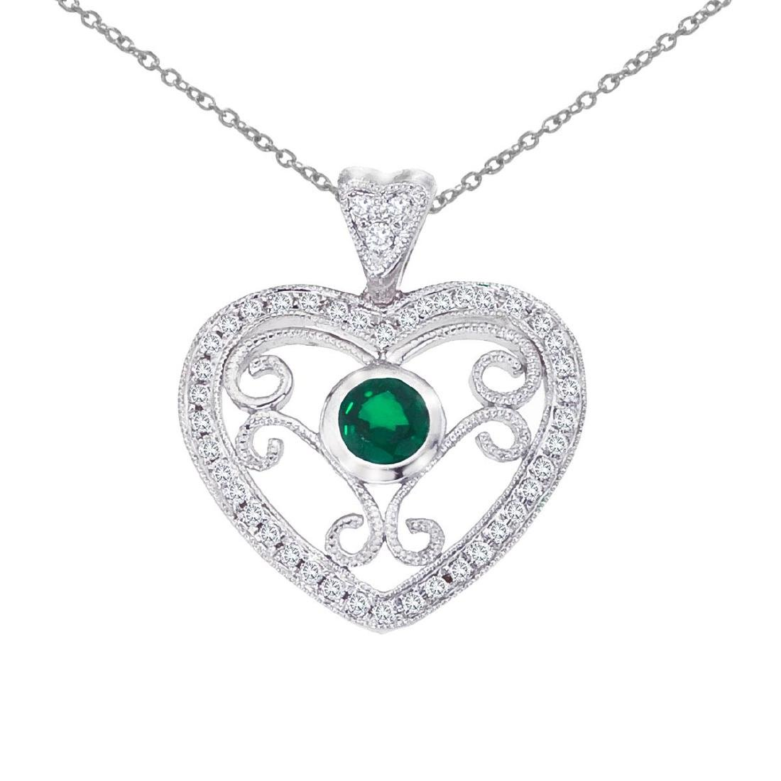 Certified 14k White Gold Heart Shaped Filigree Emerald